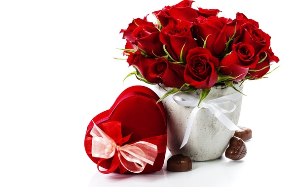 Picture flowers, photo, heart, roses, candy, gifts, bow, holidays, Burgundy, Valentine's day