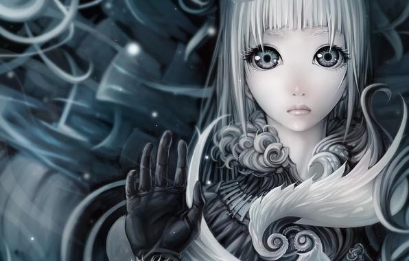 Picture girl, face, art, white hair, ljs35794
