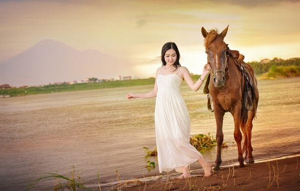 Picture smile, horse, horse, walk, Asian