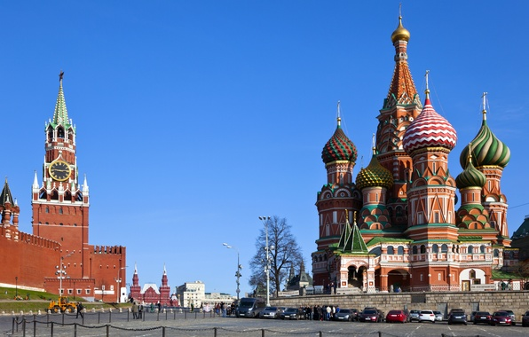 Picture city, area, Moscow, The Kremlin, St. Basil's Cathedral, Russia, Russia, Moscow, Kremlin
