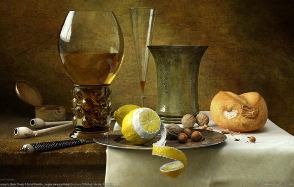 Picture lemon, glass, Kornél Ravadits, nuts, still life