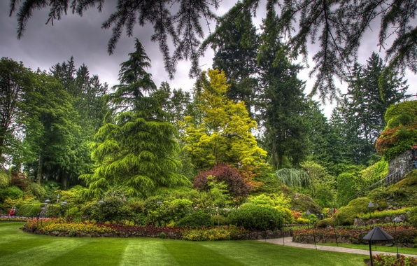Picture grass, trees, flowers, Park, lawn, landscape, Canada, flowerbed, butchart victoria