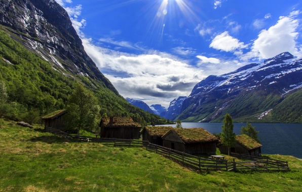 Picture the sky, clouds, mountains, lake, Norway, houses, the rays of the sun, Nordfjord