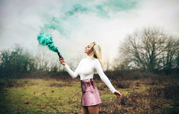 Picture girl, smoke, legs, skirt, Amy Spanos