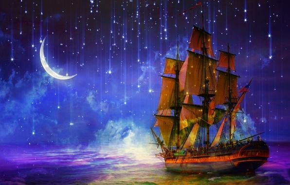 Picture sea, night, ship, sailboat, stars, art, Crescent