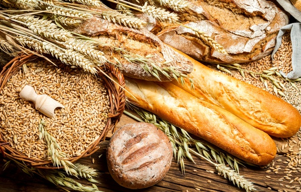 Picture wheat, table, round, basket, grain, spikelets, bread, ears, cakes, bags, loaves, rye