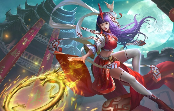 Picture girl, the moon, Moon, Queen, art, Heroes of Newerth, Guardian, Nian