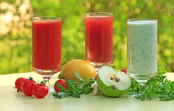 Picture greens, table, background, lemon, Apple, juice, glasses, tomatoes, parsley, bokeh, tomato