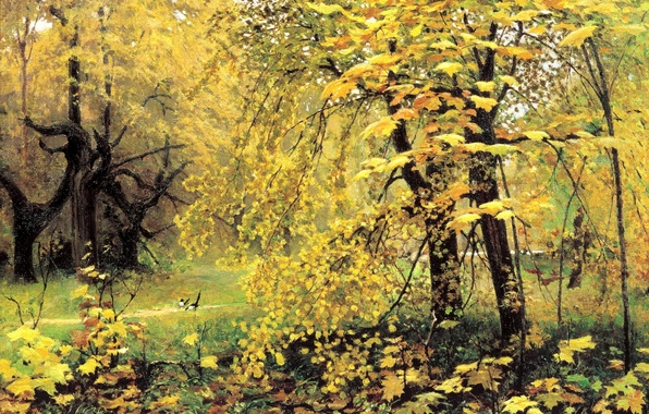 Picture forest, landscape, nature, figure, picture, painting, Golden autumn, Ostroukhov, magpies