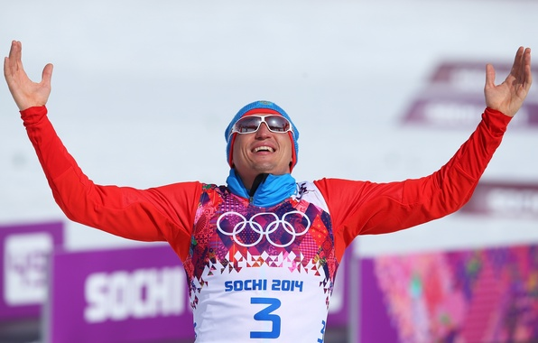 Picture happiness, victory, hands, glasses, skier, Olympic champion, RUSSIA, Sochi 2014, The XXII Winter Olympic Games, …