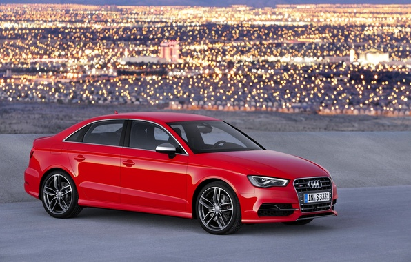 Picture Audi, Red, Lights, The city, Wheel, Machine, Case, Sedan, The view from the side