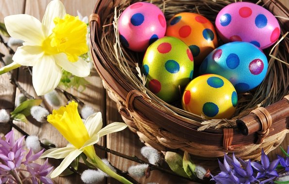 Picture flowers, eggs, spring, colorful, Easter, happy, wood, flowers, spring, Easter, eggs, holiday