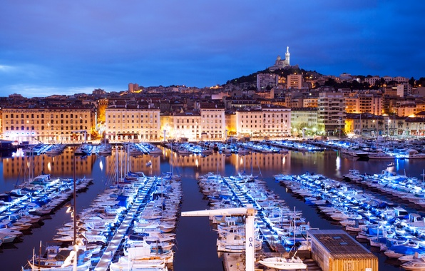 Picture lights, France, home, yachts, boats, the evening, lights, boats, piers, Marseille, Marseille