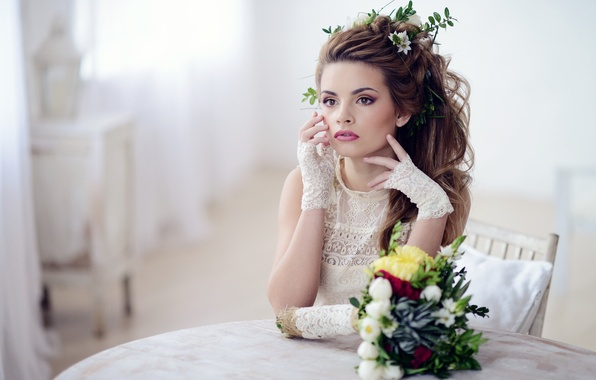 Picture look, girl, flowers, hairstyle, gloves, waiting, lace, phographer, Yana, Galina Tcivina