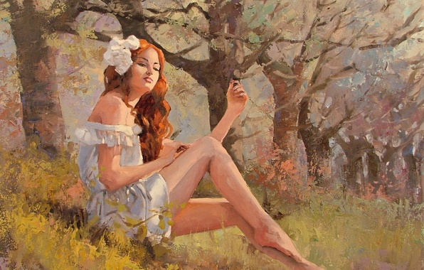 Picture grass, look, girl, trees, nature, red, painting, sitting