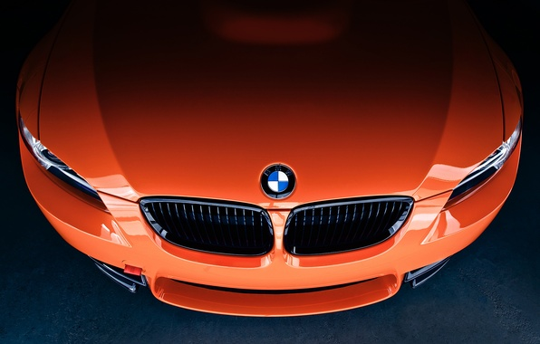 Picture orange, icon, BMW, the hood, BMW, front, E92, orange, label, grille, Lime Rock Park Edition