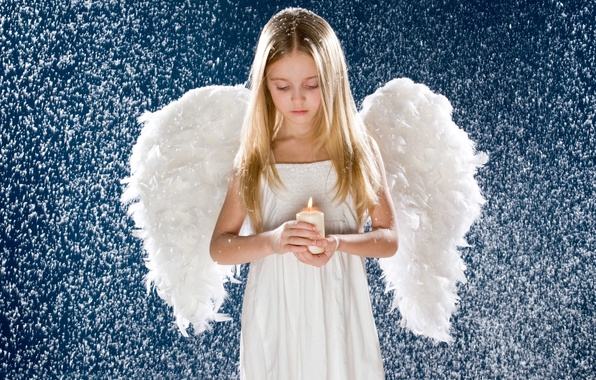 Picture snow, candle, wings, angel, Girl