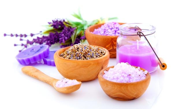 Picture flowers, soap, plates, Spa, jar, salt
