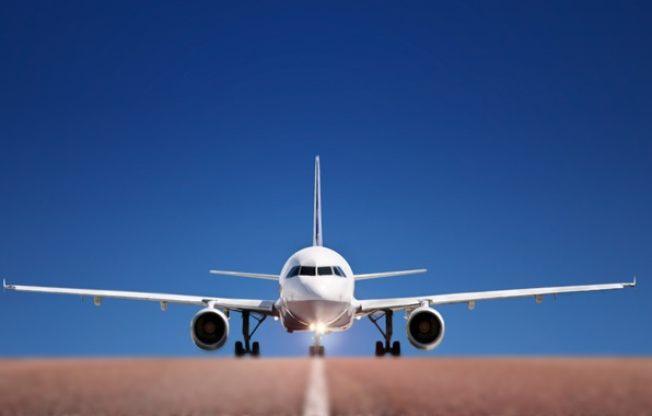 Picture road, the sky, aviation, strip, airport, the plane, roads, airplanes, acceleration, takeoff, fly