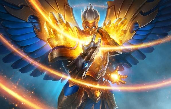 Picture fire, wings, angel, warrior, mask, art, juggernaut wars, mitrael