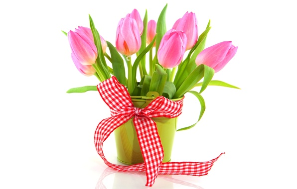 Picture flowers, bouquet, tape, tulips, vase, fresh, pink, flowers, tulips