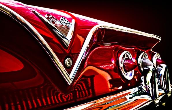 Picture retro, reflection, lights, Chevrolet, Chevrolet, classic, impala, rear lights, chrome parts