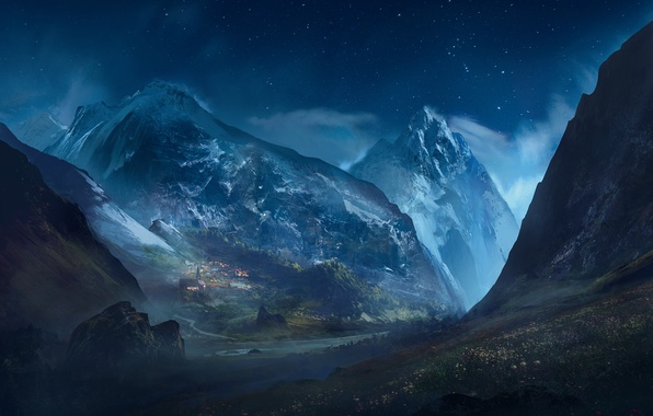 Photo wallpaper stars, landscape, mountains, night, the city, rocks, art, starry sky