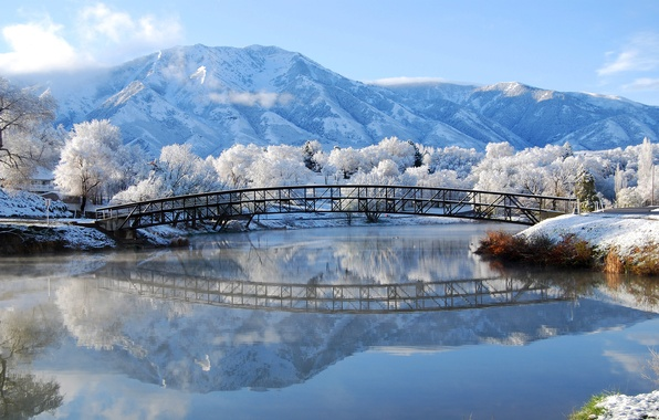 Picture winter, frost, snow, mountains, bridge, river, Nature