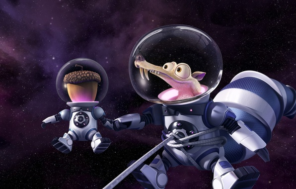 Picture cinema, Ice Age, stars, cartoon, movie, animal, planet, nuts, film, pose, squirrel, galaxies, cosmonaut, 20th …
