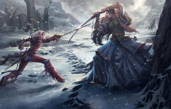 Picture snow, girls, sword, art, battle, elf