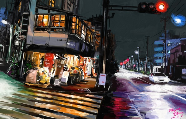 Picture road, night, the city, lights, Tokyo, art, Shitub52