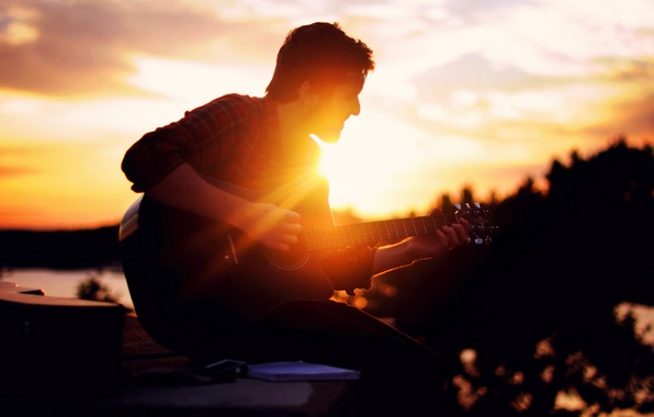 Picture light, music, guitar, guy