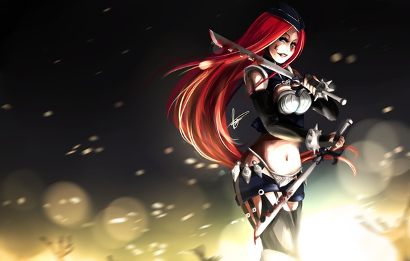 Picture girl, weapons, blood, art, sparks, league of legends, katarina