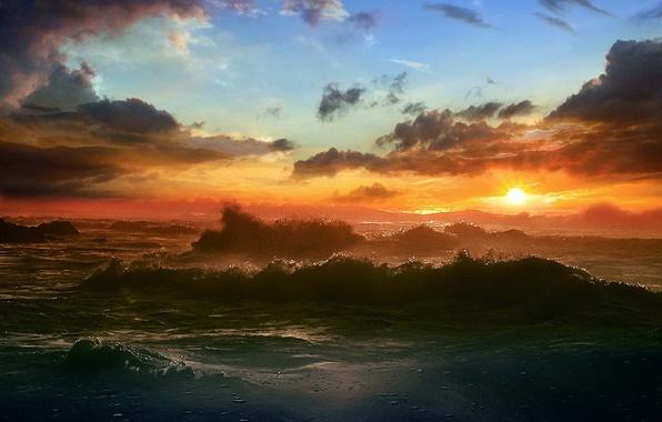 Picture sea, the sun, clouds, Wave