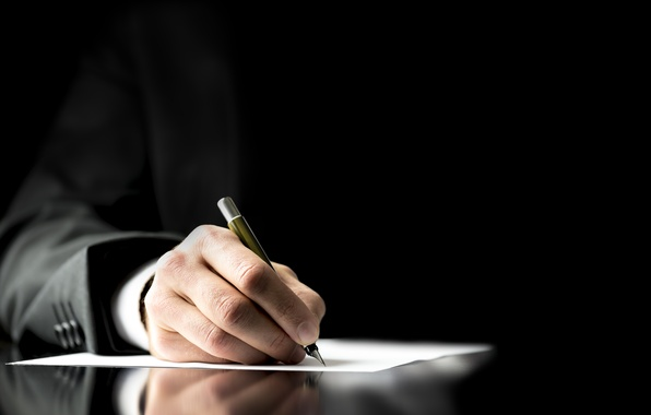 Picture paper, pen, business suit, contract