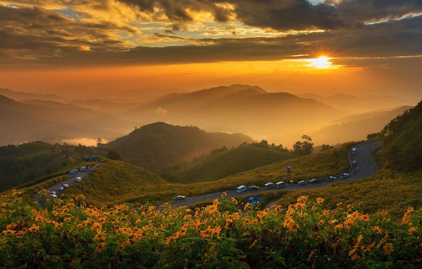 Picture road, the sun, clouds, landscape, sunset, flowers, mountains, nature, Thailand