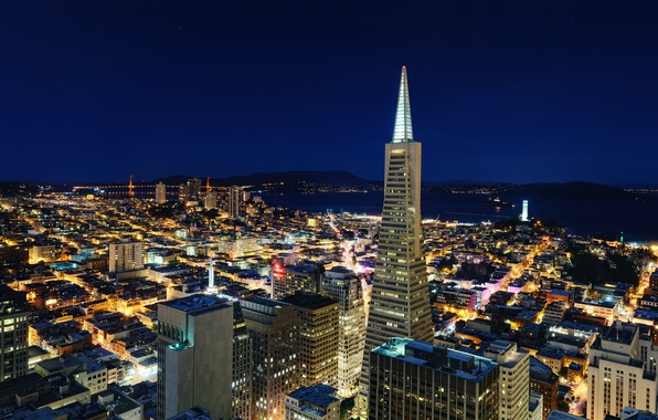 Picture night, CA, San Francisco, night, California, San Francisco, usa