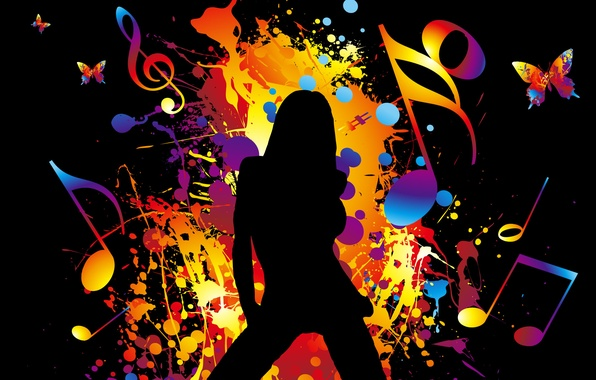 Picture color, girl, music, movement, dance, rainbow, music, sound, relax, brightness