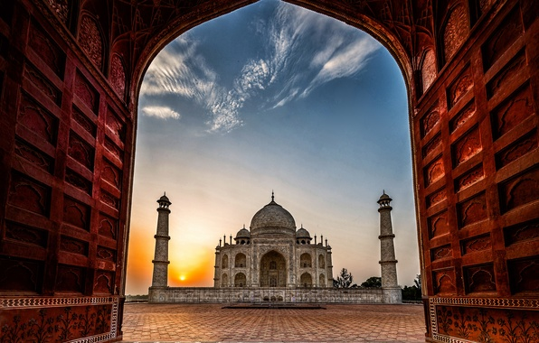 Picture dawn, India, Taj Mahal, mosque, the mausoleum, Agra, Taj Mahal, Agra, India