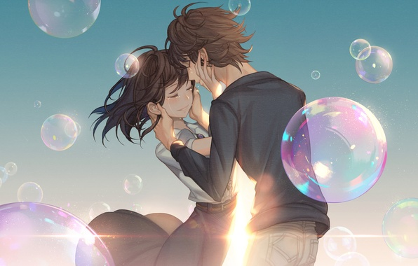 Picture girl, smile, bubbles, anime, tears, art, pair, guy, two, gahyun park
