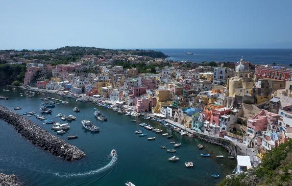 Picture sea, coast, building, Bay, boats, port, Italy, boats, promenade, Italy, Campania, harbour, The Bay of …