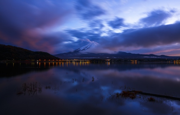 Picture the sky, clouds, night, reflection, the ocean, mountain, the volcano, Japan, Bay, blue, Honshu, Fuji