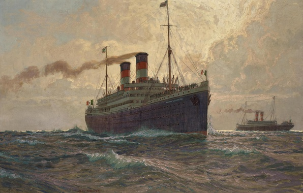 Picture sea, wave, pipe, smoke, ship, passengers, ship, albert emil kirchner
