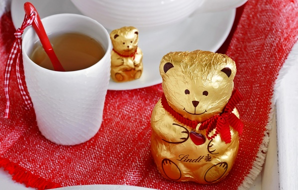 Picture tea, heart, chocolate, bear, bear, heart, cup, chocolate, tea, Cup