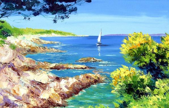 Picture sea, landscape, picture, sail, Jean-Marc Janiaczyk