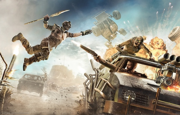 Picture the explosion, weapons, jump, chase, battle, wheel, trunk, tires, spear, cars, Warner Bros, Mad Max, …