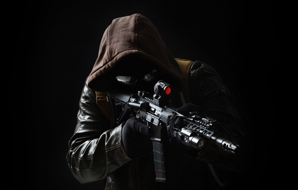 Picture weapons, hood, male, leather jacket, assault rifle