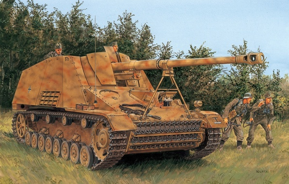 Picture figure, hornet, Rhino, the Wehrmacht, Ron Volstad, SPG, Hornisse, self-propelled artillery, SdKfz 164, Nashorn