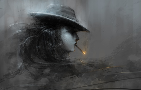 Picture girl, fire, hat, art, cigarette, profile, black and white