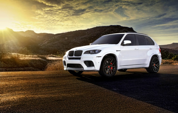 Picture BMW, white, wheels, tuning, X5M, frontside